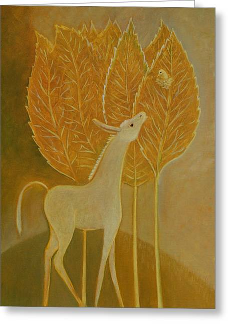 Greeting Card featuring the painting A Little Golden Song by Tone Aanderaa