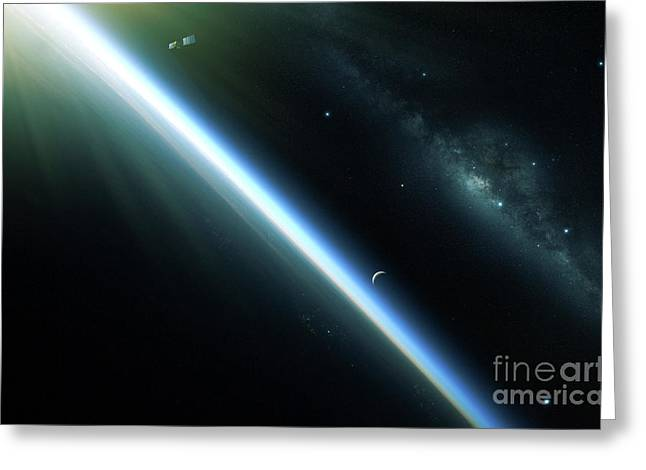 A Lone Satellite Drifts Silently Greeting Card by Kevin Lafin