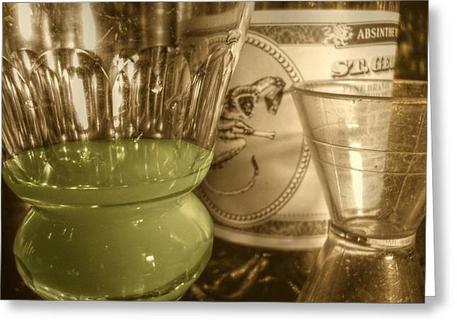 A Macro Sepia And Green Of Absinthe Greeting Card by Jennifer Holcombe