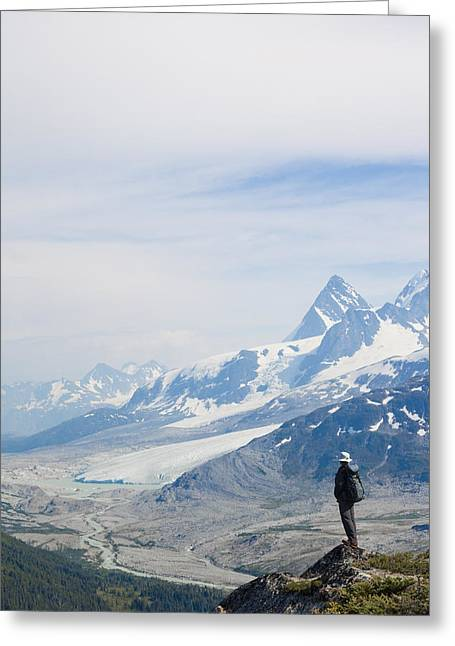A Man Admires A Glacier Gouged Valley Greeting Card