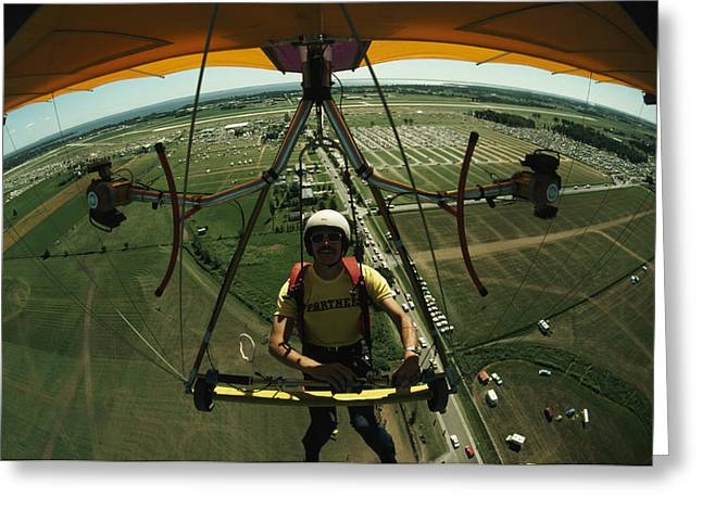 A Man Flies In A Hang Glider Powered Greeting Card