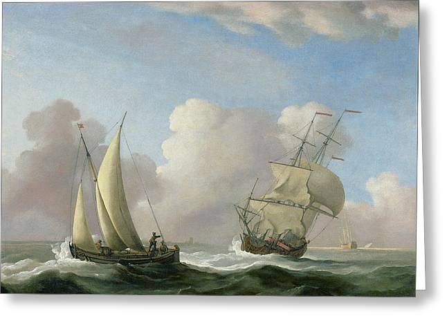A Man-o'-war In A Swell And A Sailing Boat Greeting Card by Peter Monamy