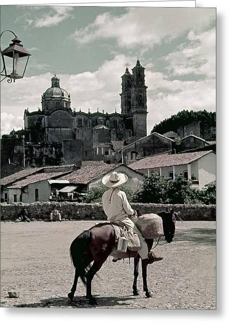 A Man On Horseback Looks At The Borda Greeting Card by Luis Marden