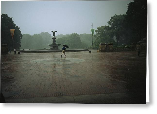 A Man Scurries Across Bethesda Terrace Greeting Card by Melissa Farlow