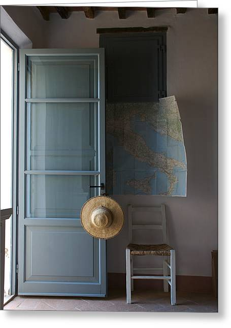 A Map Hangs On The Wall Of A Tuscan Greeting Card by Heather Perry