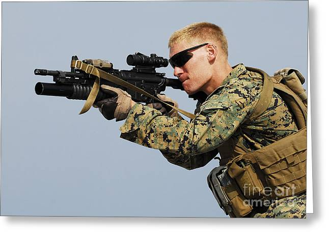 A Marine Looks Through The Sight Greeting Card