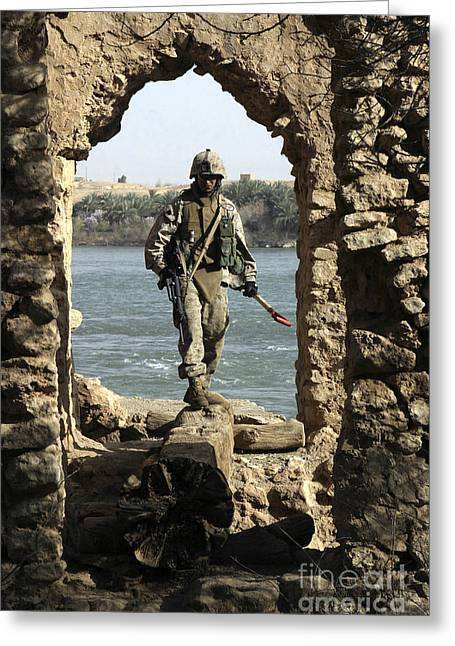A Marine Searching A Stone Aqueduct Greeting Card by Stocktrek Images