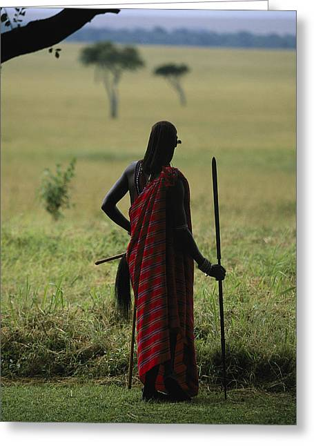 A Masai Warrior With A Spear Looking Greeting Card by Michael Melford