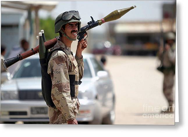 A Member Of The Iraqi Security Force Greeting Card by Stocktrek Images
