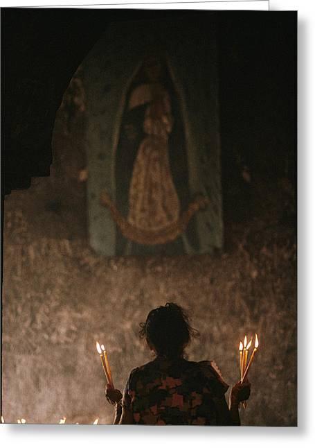 A Mexican Woman Prays To The Virgin Greeting Card by Kenneth Garrett