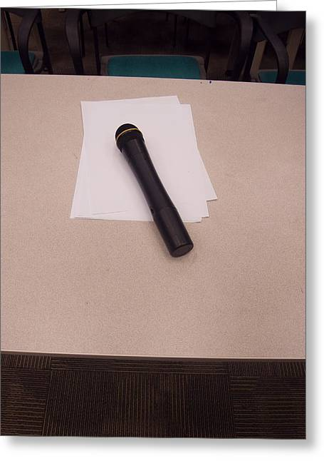 A Microphone On The Lectern Of A Presentation Room Greeting Card by Ashish Agarwal