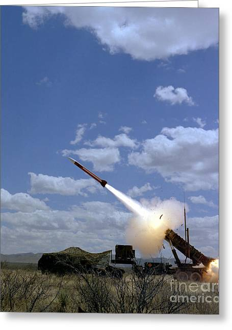 A Mim-104 Patriot Anti-aircraft Missile Greeting Card by Stocktrek Images