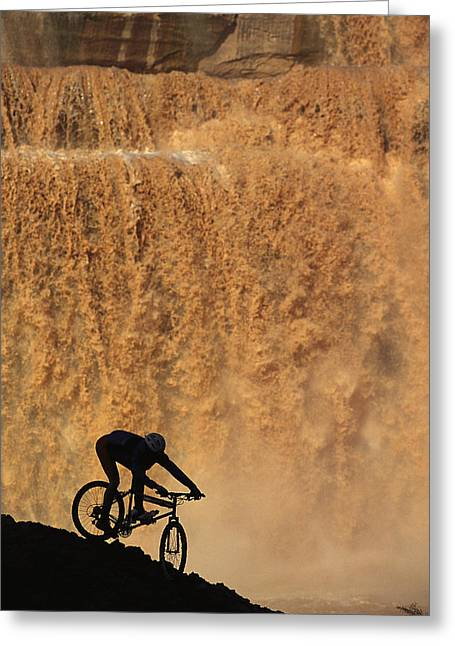 A Mountain Biker Pedals Past Rushing Greeting Card by Bill Hatcher