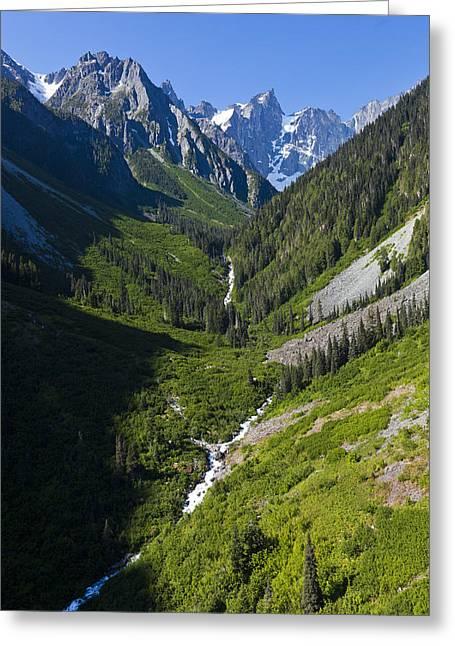 A Mountain Streams Runs Down The Bella Greeting Card