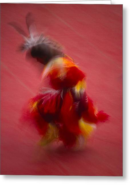 A Native American Dancer In Traditional Greeting Card by Michael Melford