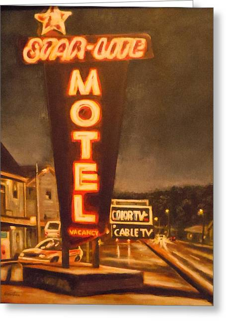 A Night At The Star-lite Motel Greeting Card by James Guentner