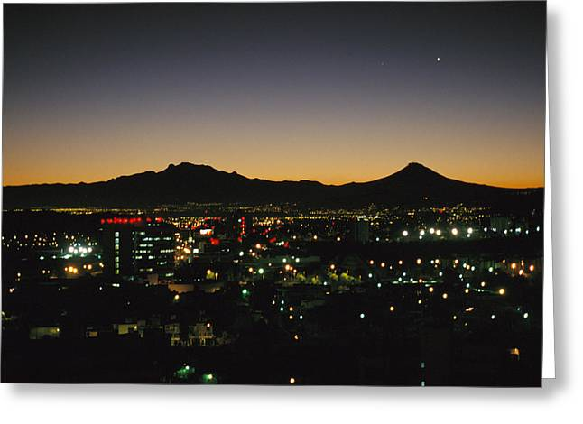 A Night View Of Sprawling Mexico City Greeting Card