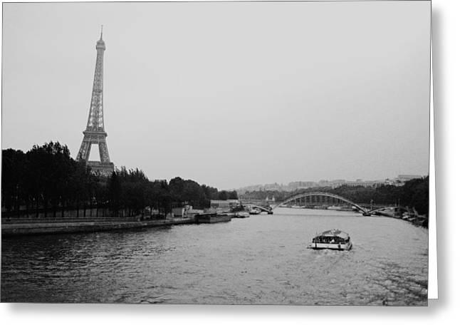 A Noir Look At The Eiffel Tower Greeting Card by Chris Ann Wiggins