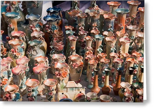 A Number Of Clay Vases And Figurines At The Surajkund Mela Greeting Card by Ashish Agarwal
