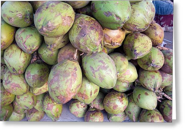 A Number Of Tender Raw Coconuts In A Pile Greeting Card by Ashish Agarwal
