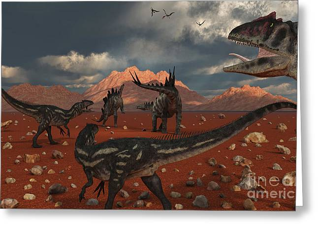 A Pack Of Allosaurus Dinosaurs Track Greeting Card by Mark Stevenson