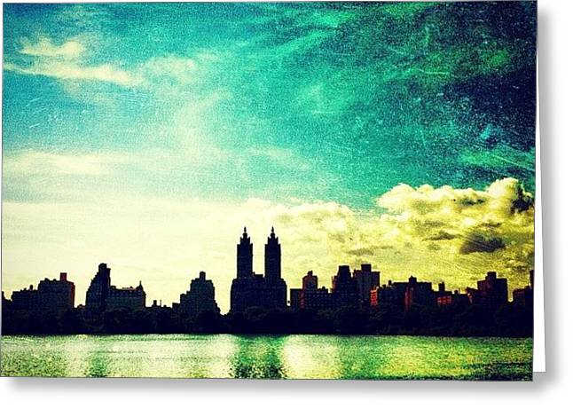 A Paintbrush Sky Over Nyc Greeting Card