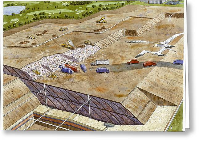 A Painting Of A Landfill That Causes Greeting Card