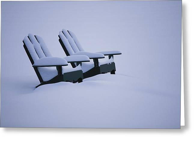 A Pair Of Adirondack Chairs In The Snow Greeting Card