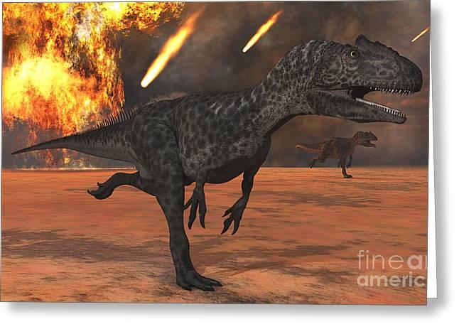 A Pair Of Allosaurus Dinosaurs Running Greeting Card by Mark Stevenson