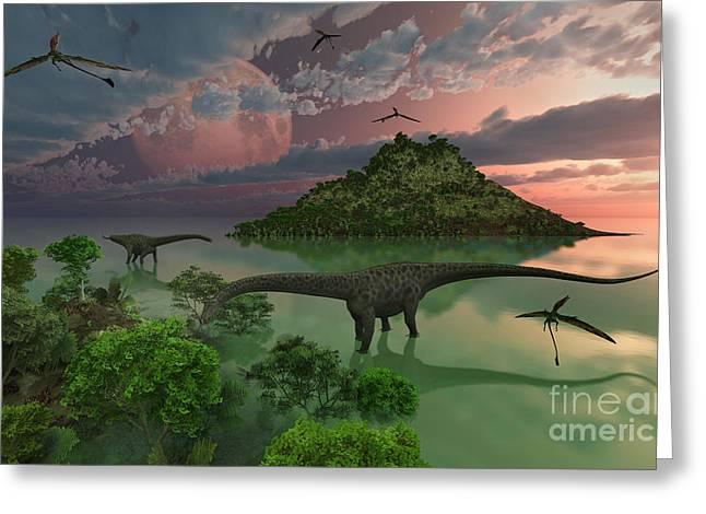 A Pair Of Diplodocus Dinosaurs Greeting Card by Mark Stevenson