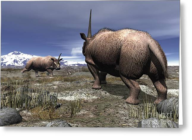 A Pair Of Male Elasmotherium Confront Greeting Card by Walter Myers