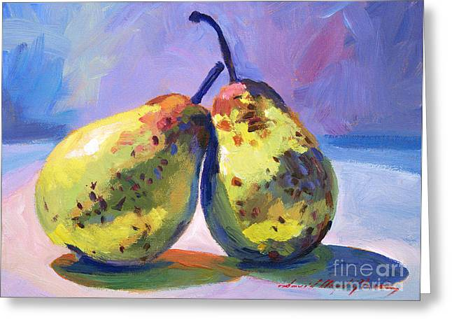 A Pair Of Pears Greeting Card by David Lloyd Glover