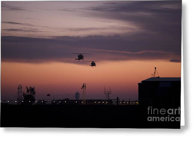 A Pair Of Uh-60 Black Hawk Helicopters Greeting Card by Terry Moore
