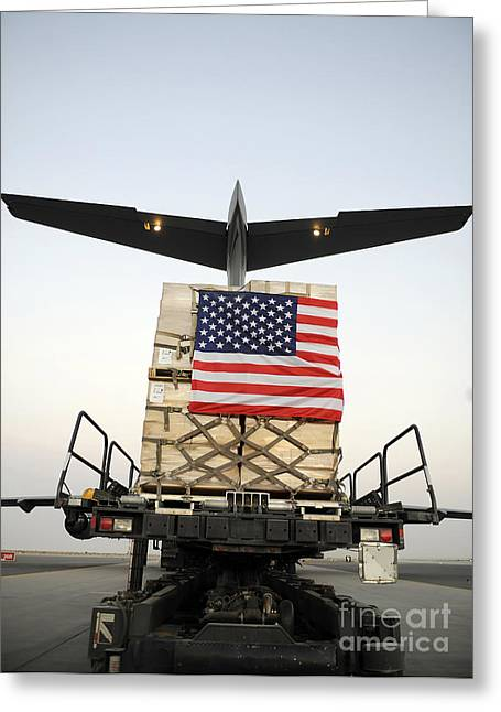 A Pallet Containing Humanitarian Relief Greeting Card by Stocktrek Images