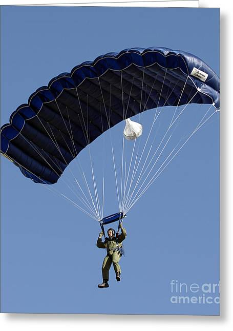 A Paratrooper Descends Through The Sky Greeting Card by Stocktrek Images