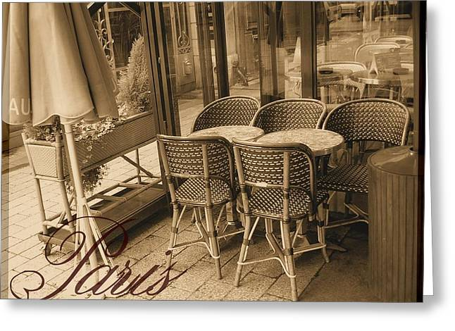 A Parisian Sidewalk Cafe In Sepia Greeting Card by Jennifer Holcombe