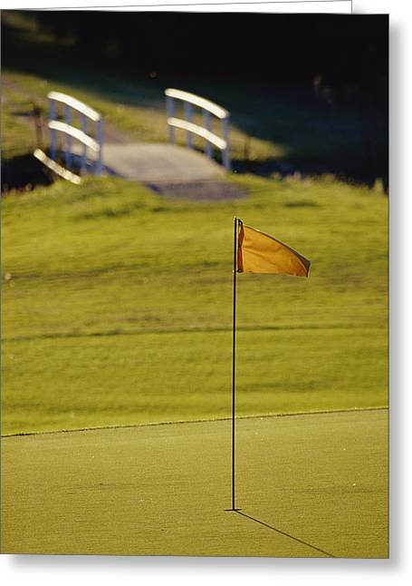 A Peaceful Putting Green And Footbridge Greeting Card