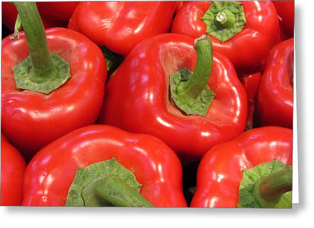 A Peck Of Red Peppers Greeting Card by Kathy Clark