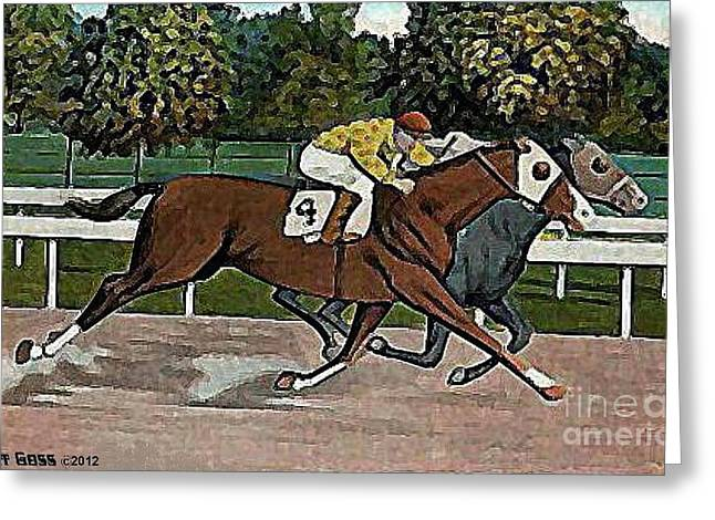 A Photo Finish At Saratoga In 1920 Greeting Card