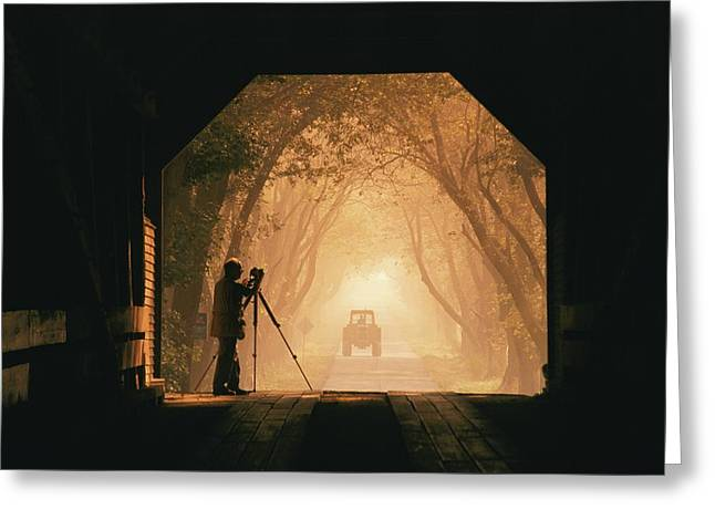 A Photographer Sets Up His Camera Greeting Card by Richard Nowitz