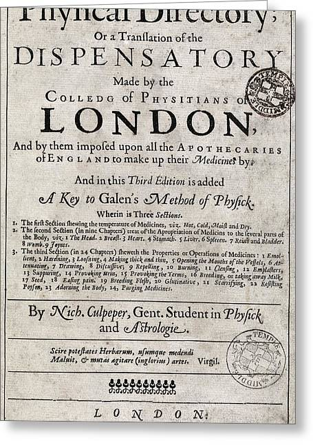 A Physical Directory Title Page, 1651 Greeting Card