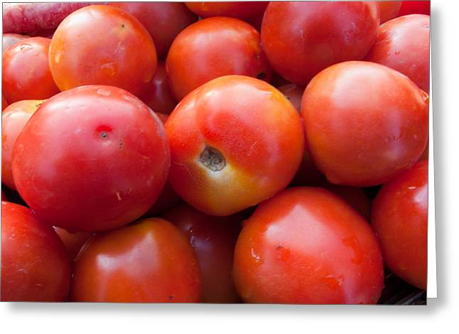 A Pile Of Luscious Bright Red Tomatoes Greeting Card by Ashish Agarwal