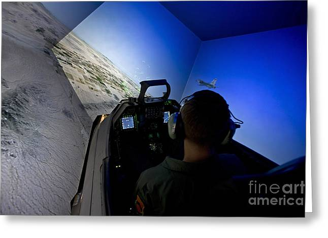 A Pilot Flies The F-16 Simulator Greeting Card