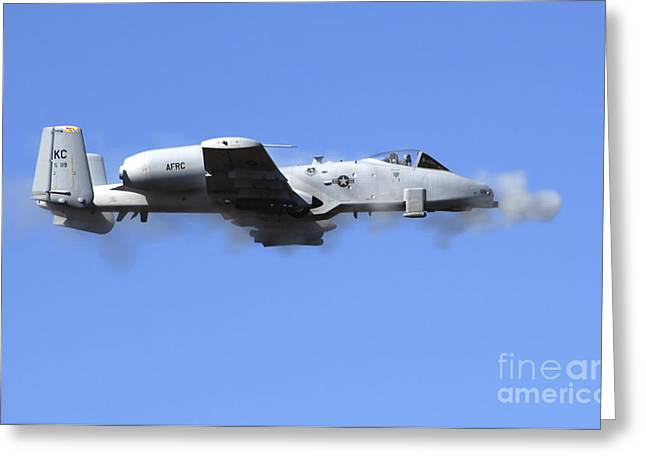A Pilot In An A-10 Thunderbolt II Fires Greeting Card by Stocktrek Images