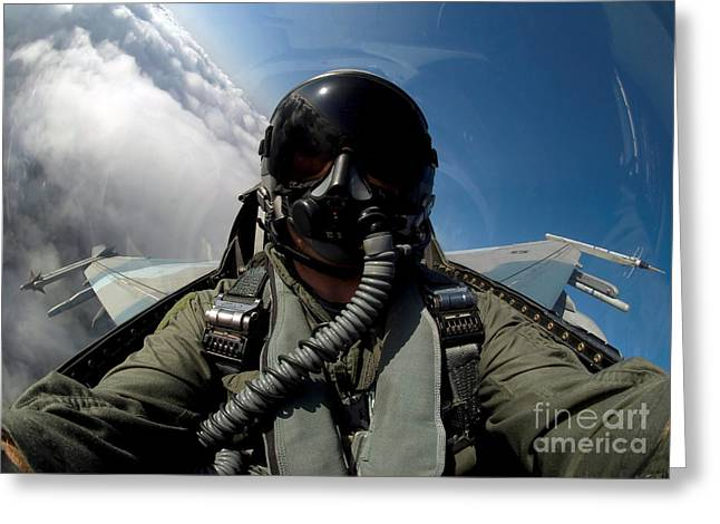 A Pilot In The Cockpit Of An F-16 Greeting Card by Stocktrek Images
