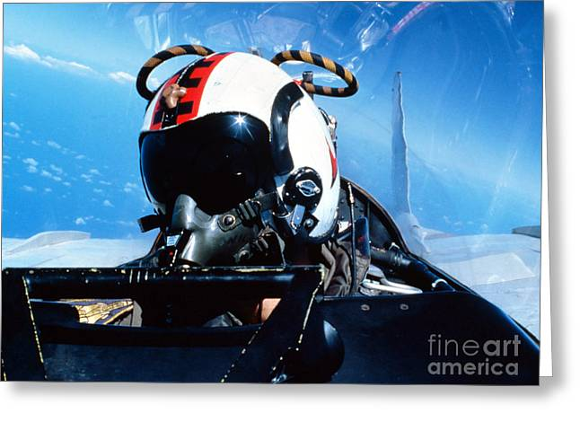 A Pilot Sitting In The Back Greeting Card by Dave Baranek