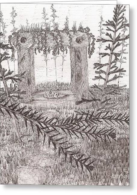 A Place For The Old Gods... - Sketch Greeting Card by Robert Meszaros