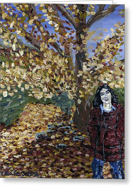 A Portrait Of The Artist's Mother In Autumn Greeting Card