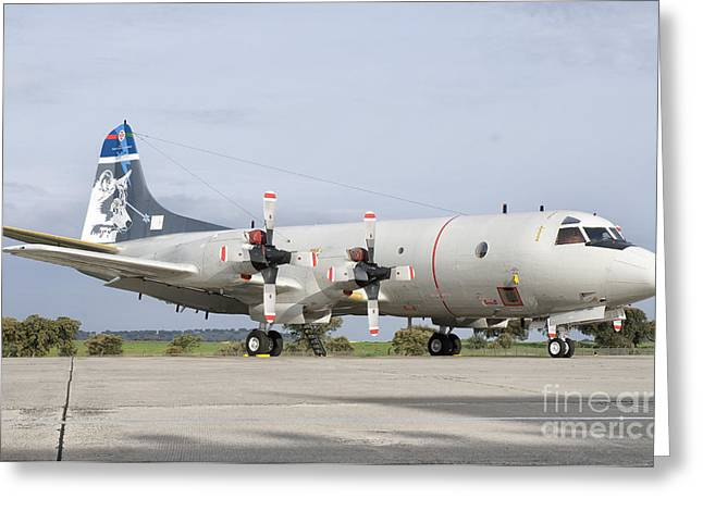A Portuguese Air Force P-3c Cup Orion Greeting Card by Giovanni Colla