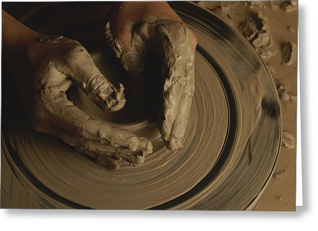 A Potter Makes A Pot From Clay Greeting Card